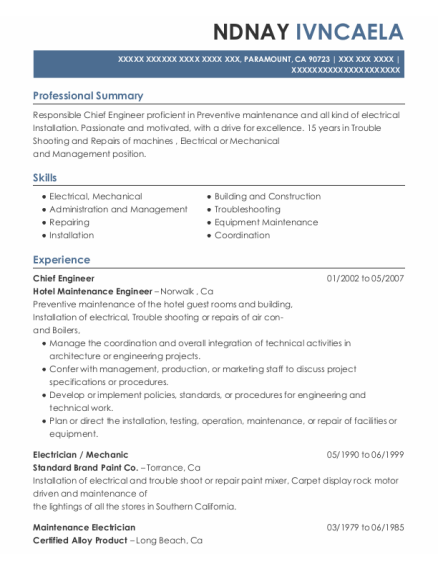 Chief Engineer resume template California