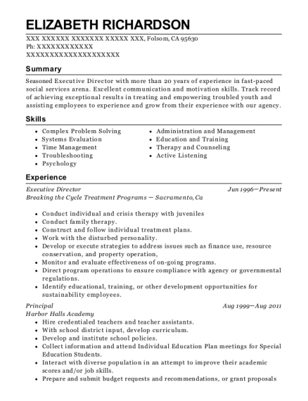 Executive Director resume example California