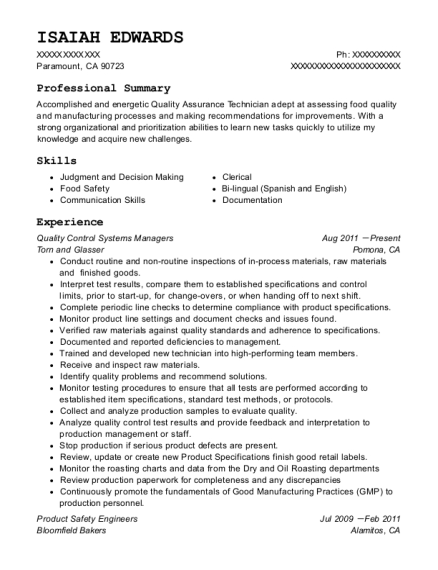 Quality Control Systems Managers resume sample California