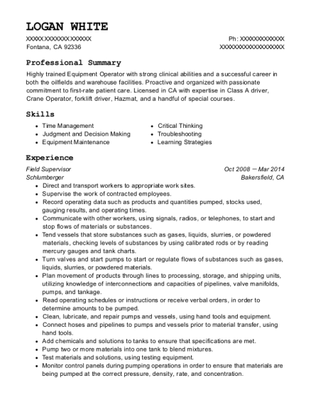 Field Supervisor resume format California