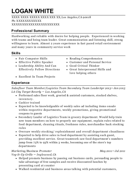 Salesfloor Team Member resume sample California