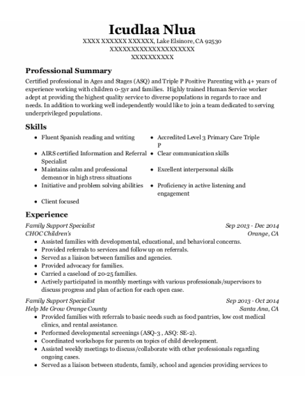 Family Support Specialist resume sample California