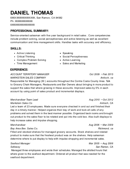 ACCOUNT TERRITORY MANAGER resume example California