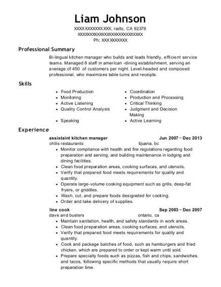 assistaint kitchen manager resume sample California
