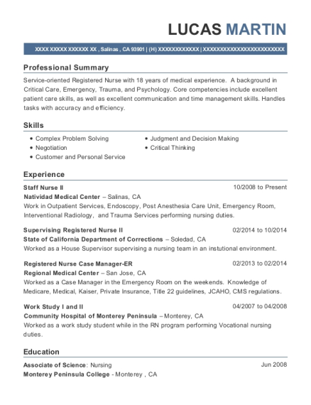 Staff Nurse II resume template California