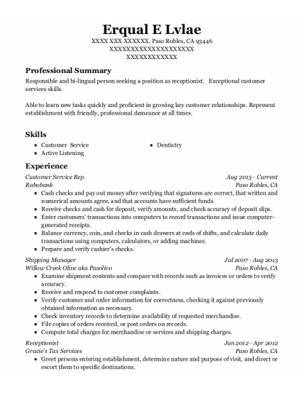 Customer Service Rep resume example California