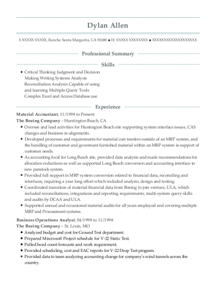 Material Accountant resume format California