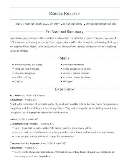 Tax Associate resume example California