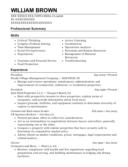 President resume template California