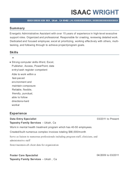 Data Entry Specialist resume example California