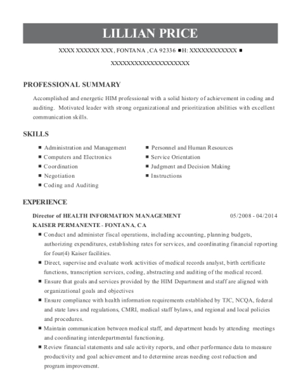 Director of HEALTH INFORMATION MANAGEMENT resume example California