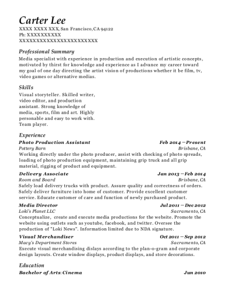 Redheads Anonymous Production Assistant Resume Sample