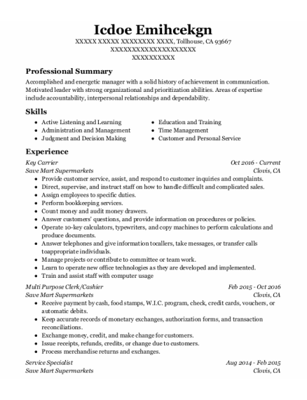 Key Carrier resume sample California