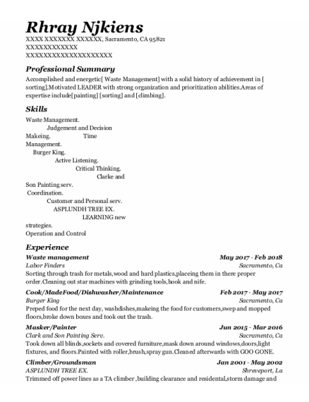 Waste Management resume template California