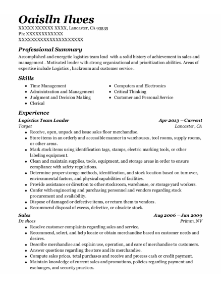 target logistics team leader resume sample