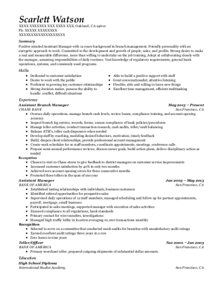 Assistant Branch Manager resume template California