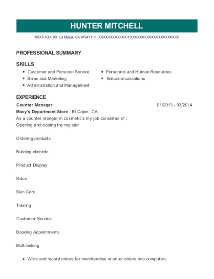 Counter Manager resume sample California