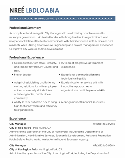 City Manager resume format California