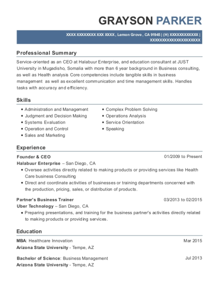 Founder & CEO resume template California