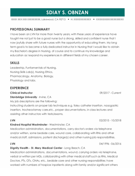 Clinical Instructor resume format California