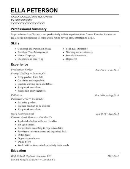 Production Worker resume example California
