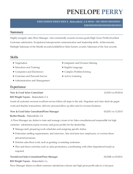 New & Used Sales Consultant resume example California