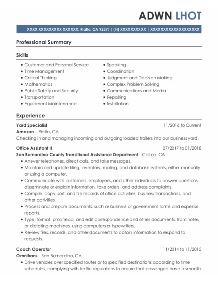 Office Assistant Ii resume example California