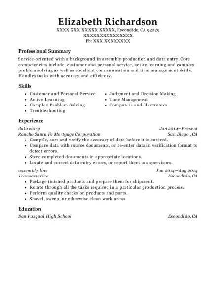 data entry resume format California
