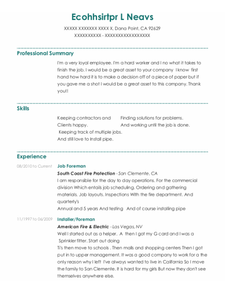 Job Foreman resume format California