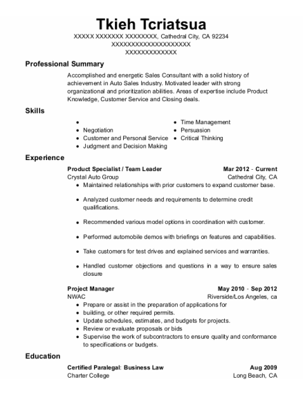Product Specialist resume template California