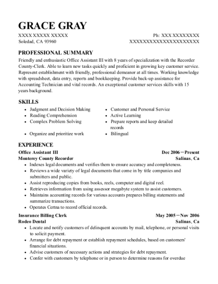 Office Assistant III resume sample California