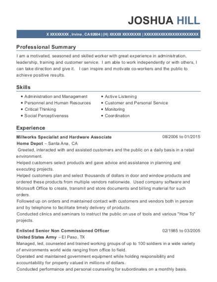 Millworks Specialist and Hardware Associate resume sample California