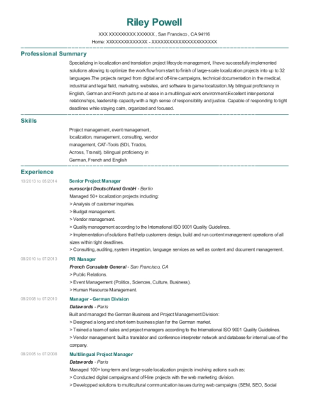 Senior Project Manager resume format California