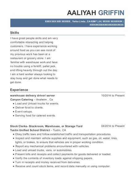 warehouse delivery driver resume template California