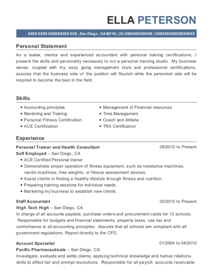 Personal Trainer and Health Consultant resume format California