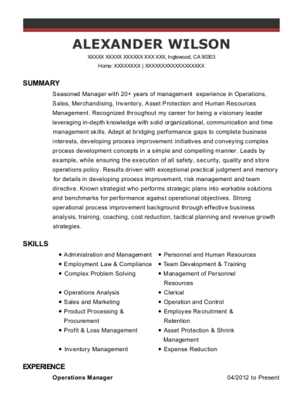 Operations Manager resume example California