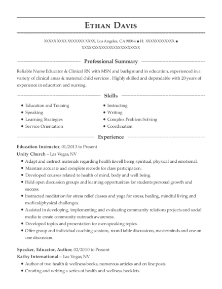 Education Instructor resume template California