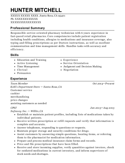 Team Member resume example California