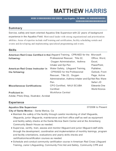Aquatics Site Supervisor resume template California