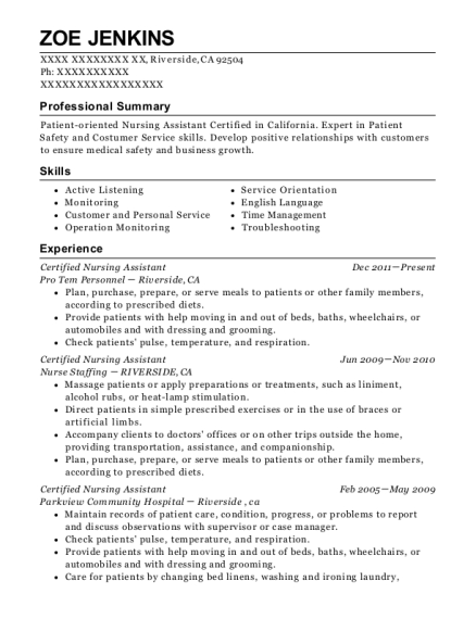 Certified Nursing Assistant resume template California