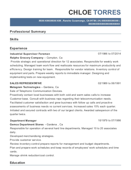 Industrial Supervisor Foreman resume format California