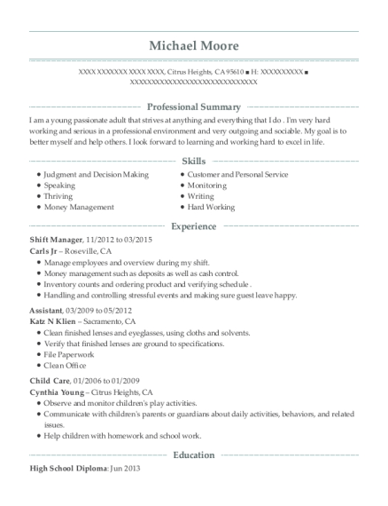 Shift Manager resume format California