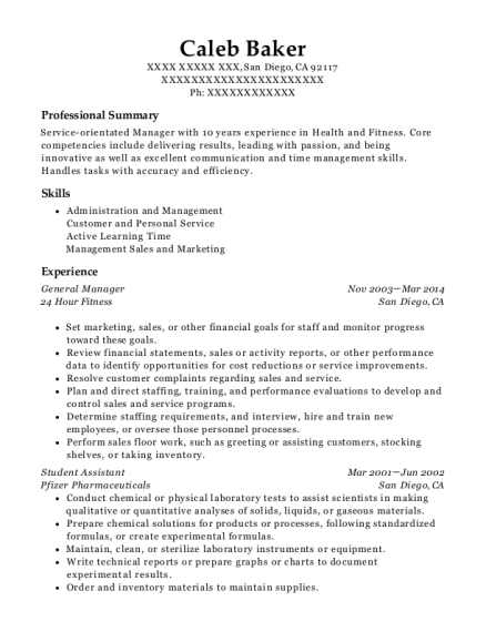 General Manager resume sample California
