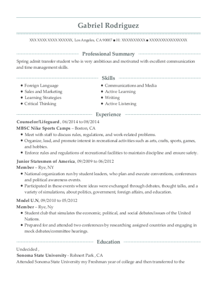 Counselor resume template California
