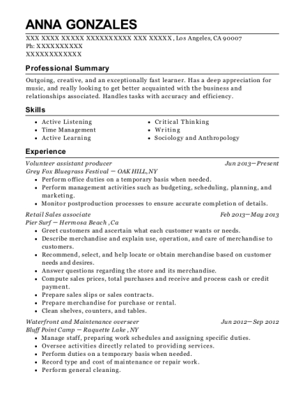 Volunteer assistant producer resume sample California