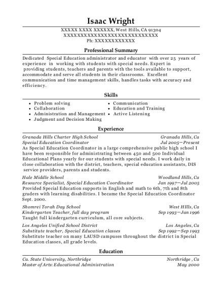 Special Education Coordinator resume example California