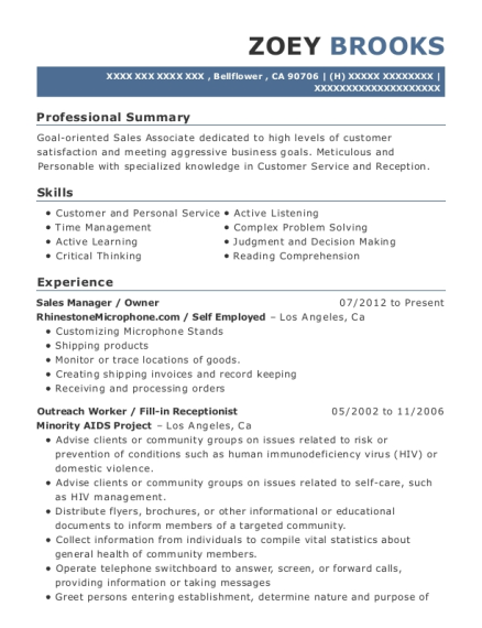 Sales Manager resume template California