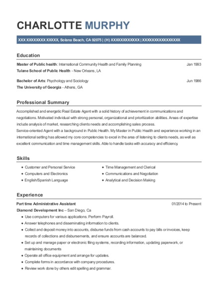 Part time Administrative Assistant resume example California