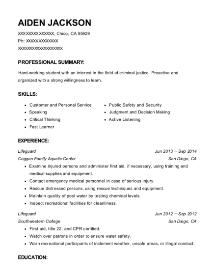 Lifeguard resume format California