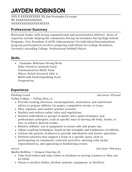 Pitching Coach resume example California